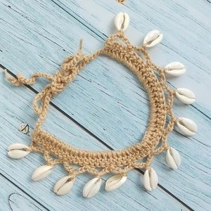 Chrochet cowrie shells anklet or choker necklace